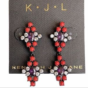 Kenneth Jay Lane Coral and Purple Earrings